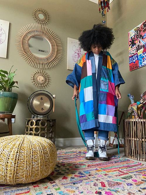 Upcycled Robe : Patchwork w/ Denim