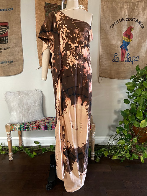 Bleached Brown One Shoulder Maxi Dress