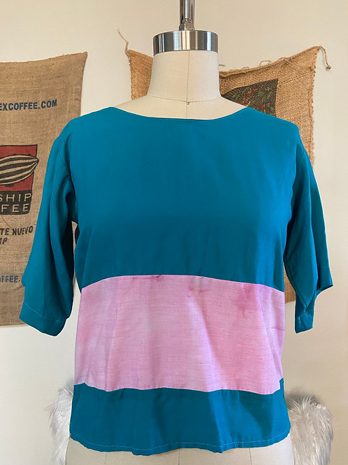 Teal and Tie-Dye Fuchsia Top w/ back detail