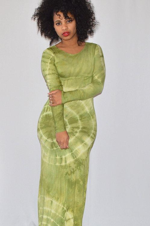 Apple Green Tie-Dye Maxi Dress