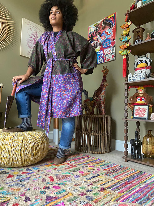 Upcycled Robe : Purple / Green Floral