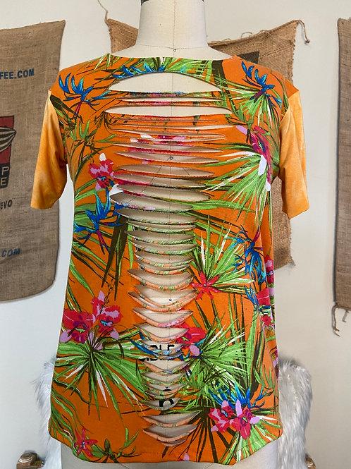 Floral Top w/ Tie-Dye Sleeves