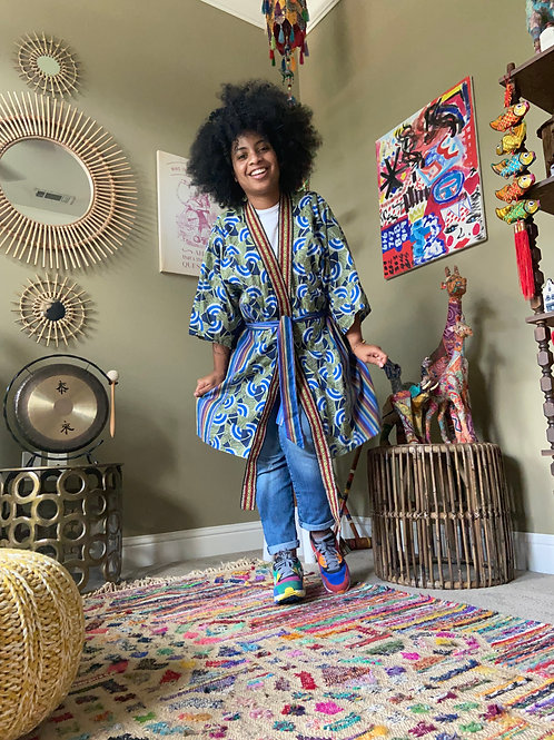 Upcycled Robe : Tribal Print and Stripes