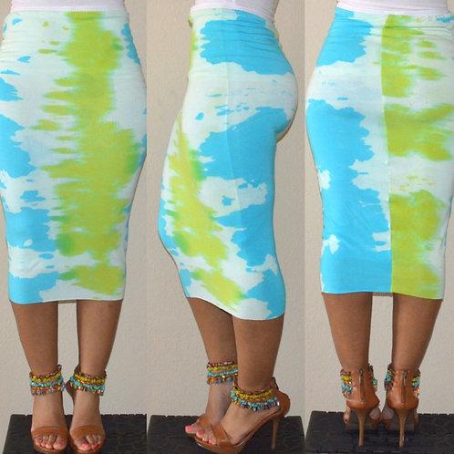 Earth Tie-Dye Pencil Skirt