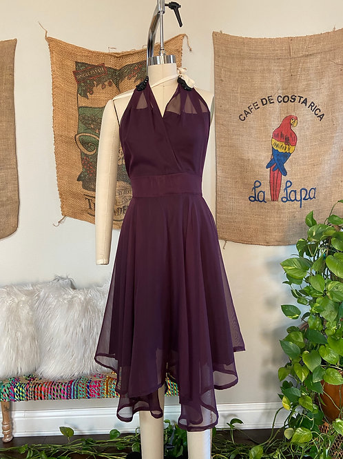 Plum Purple Multi Tie Halter Dress