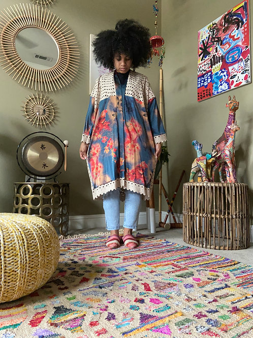 Upcycled Robe : Eyelet and Floral Mix
