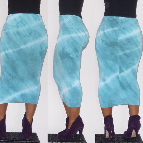 Robin Egg Blue Tie-Dye Pencil Skirt