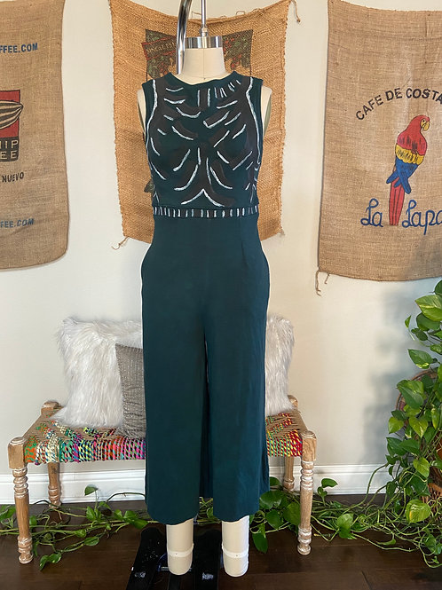 Hand Painted Green Cropped Pant Jumpsuit