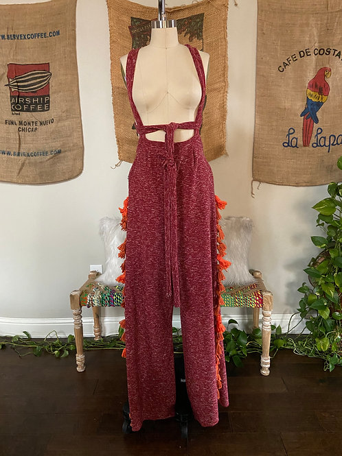 Red Knit Overalls