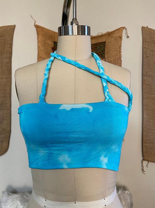 Aquamarine Blue Bandeau Braided Top