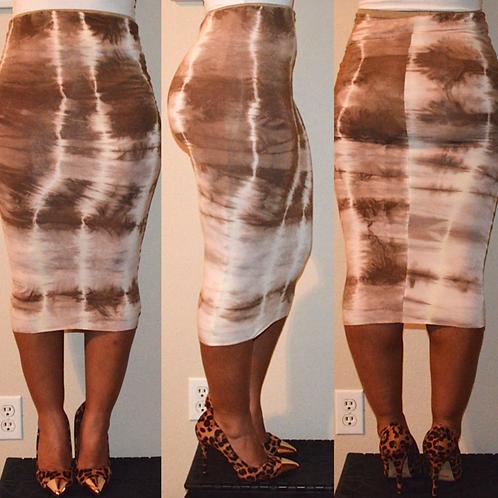 Hazelnut Tie-Dye Pencil Skirt