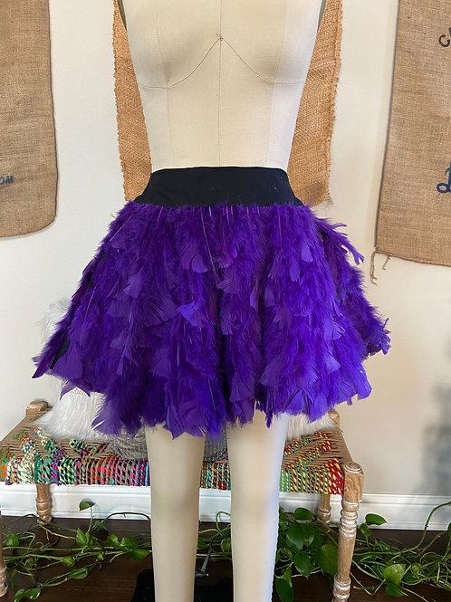 Purple Feather High Waisted Skirt