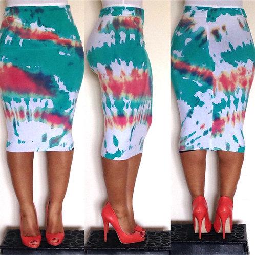 Sporadic Sunrise Tie-Dye Pencil Skirt