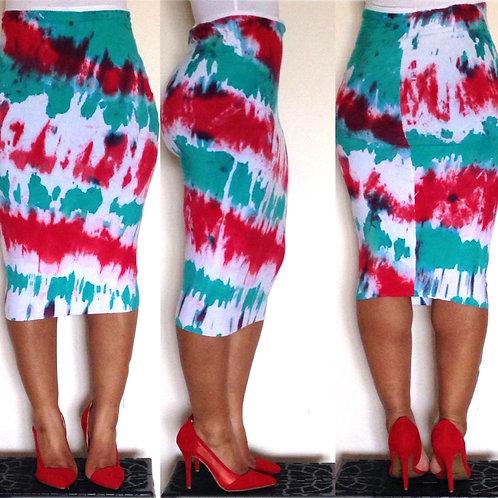 Fruit Punch Tie-Dye Pencil Skirt