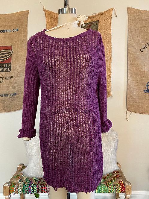 Revamped Purple Shredded Sweater