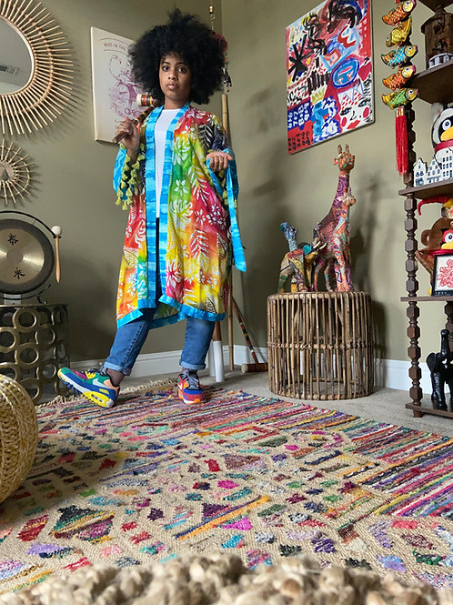 Upcycled Robe : Tropical Print