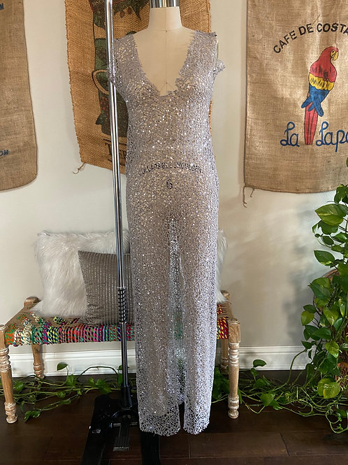 Silver Netted Swimsuit Coverup