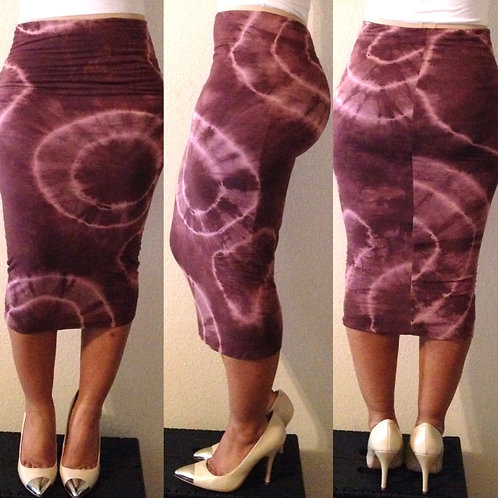 Coffee Tie-Dye Pencil Skirt