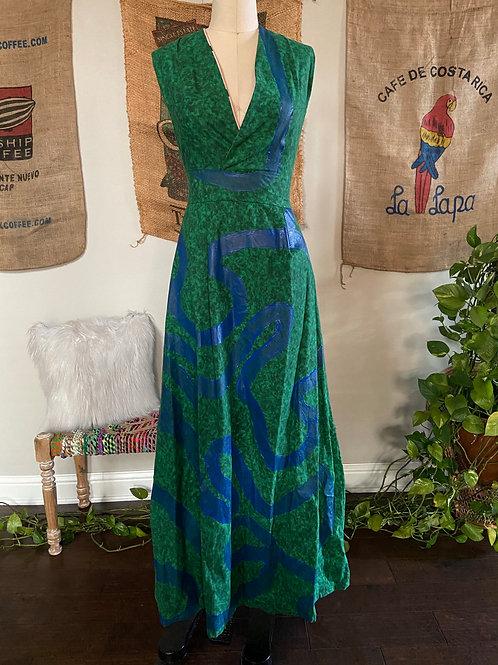 Green Maxi Dress w/ Blue Paint Detail