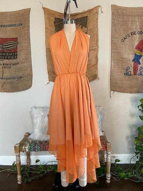 Orange Chiffon Halter Dress