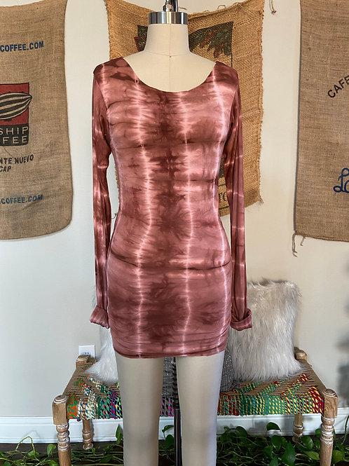 Cocoa Brown Tie-Dye Long Sleeve Top
