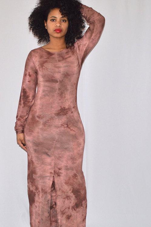 Cocoa Brown Tie-Dye Maxi Dress
