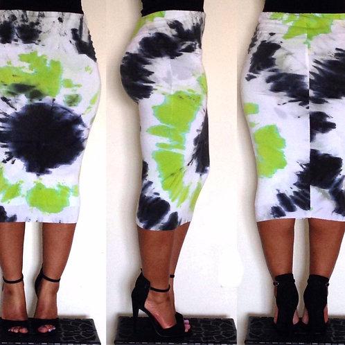 Lime Stone Tie-Dye Pencil Skirt