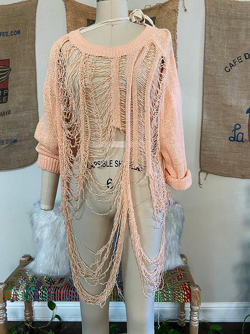 Revamped Peach Shredded Sweater