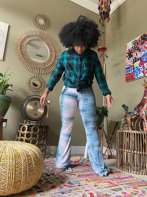 Mix Match Denim Dyed Bell Bottom Pants