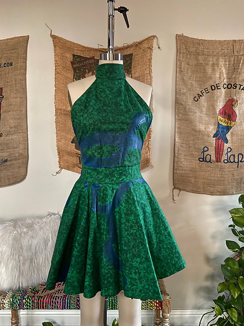 Green Halter Dress w/ Blue Paint Detail