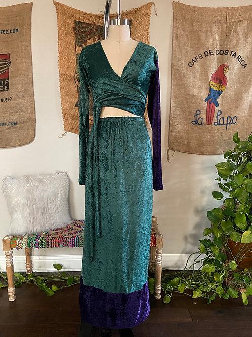 Dark Green / Purple Velvet Dress