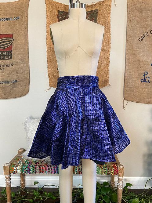 Blue Flock High Waisted Skirt