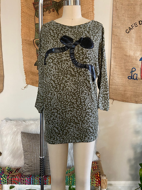 Olive Green Leopard Tunic Top