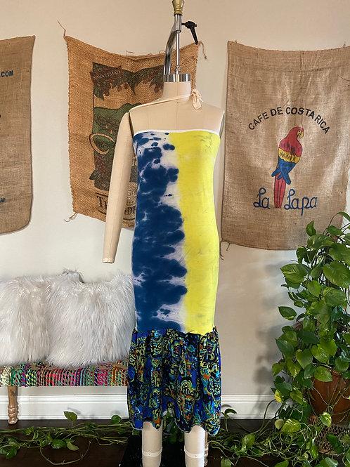 Blue / Yellow Tie-Dye Midi Dress