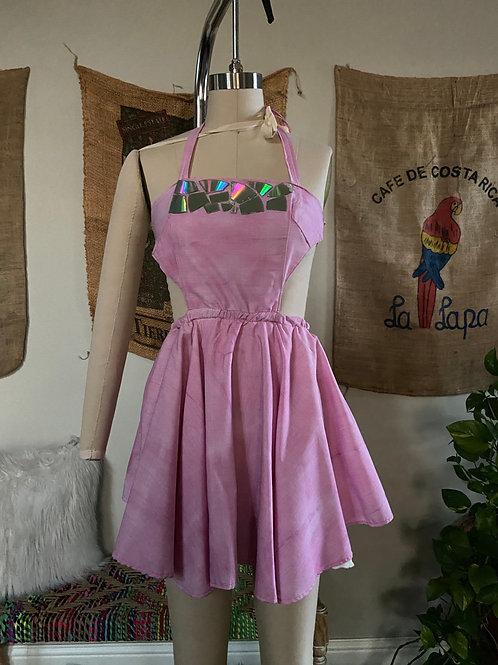 Pink Apron Style Halter Dress