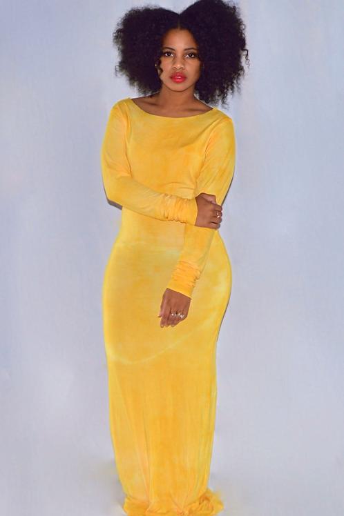 Golden Yellow Tie-Dye Maxi Dress