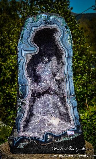 Geode d'Améthyste avec Agate bleue AAA+++