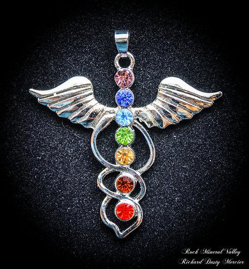 Pendentif 7 chakras Caducée Ange
