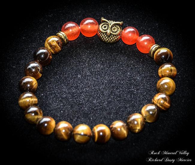 Bracelet Hibou Oeil de Tigre et Cornaline