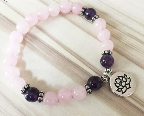 Bracelet Lotus Zen Quartz Rose et Améthyste