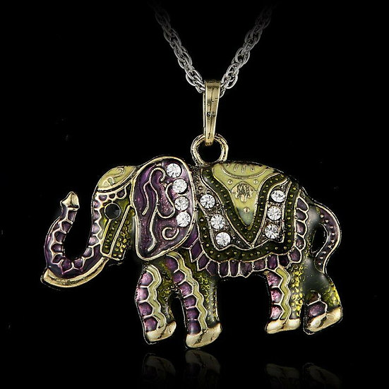 Pendentif Elephant Indien Strass