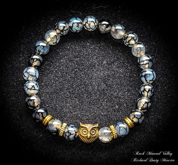 Bracelet Hibou imitation Agate noir