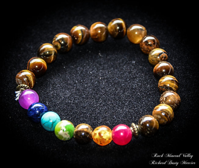 Bracelet 7 Chakras + Protection Tigre