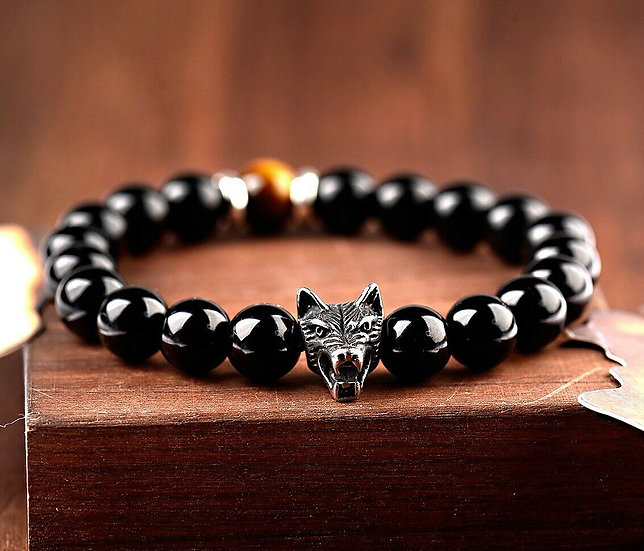 Bracelet Obsidienne Loup Wolf homme femme
