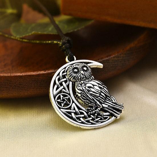 Pendentif entrelacs Chouette Lune Celtique Viking