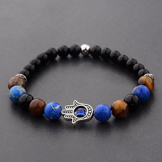 Bracelet Main de Fatima Lapis-Lazuli, Oeil de Tigre et Obsidienne