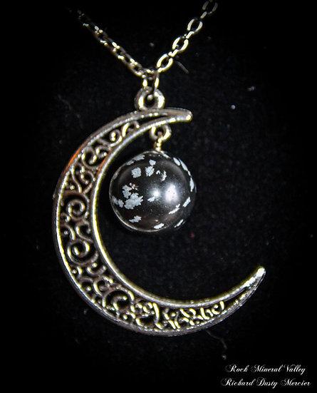 Pendentif Lune Obsidienne