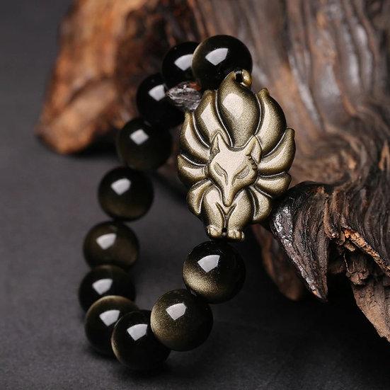 Bracelet Obsidienne Dorée Renard à 9 Queues homme femme