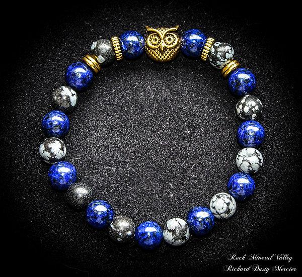 Bracelet Hibou Lapis-Lazuli et Obsidienne Flocon