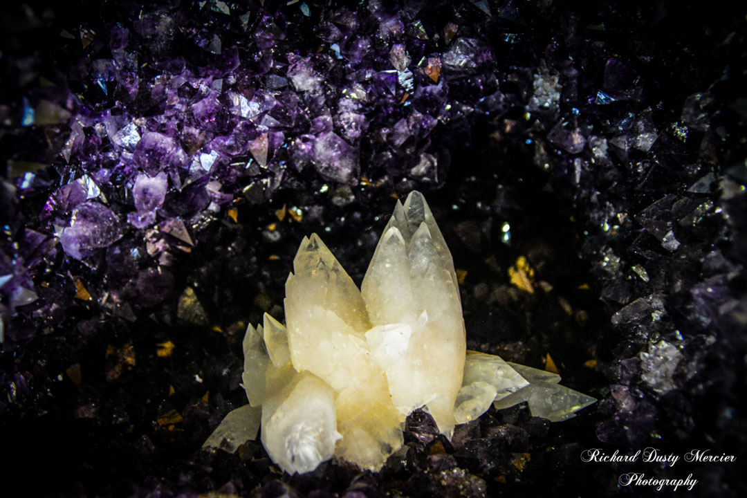 Amethyst Geode with Calcite Flower